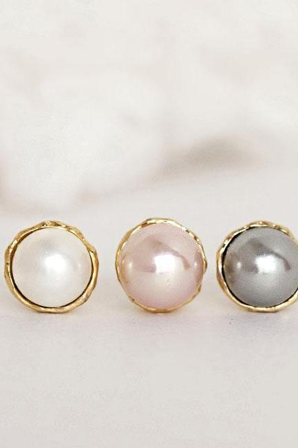 Gold Vermeil Pearl Stud Earrings, Pink / White / Grey Shell Pearl, Wedding Jewelry
