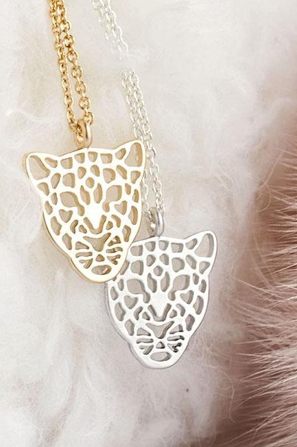 Tiny Leopard Charm Necklace, Gold / Silver, Panther Jaguar Cougar Puma Pendant