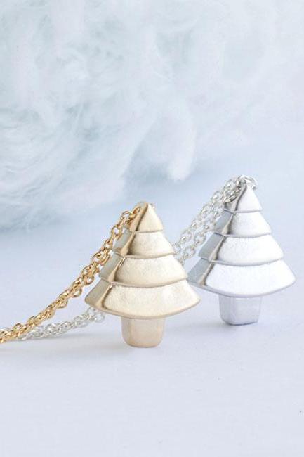 Tiny Pine Tree Charm Necklace, Gold / Silver, Pyramid Cone Shape Tree, Nature Inspired Jewelry