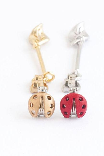 Tiny Beetle Leaf Front Back Stud Ear Jacket Earrings, Option Gold / Red Lady Bug, Whimsical Animal Jewelry