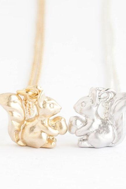 Tiny Baby Squirrel Necklace, Gold / Silver, Chipmunk Animal Jewelry