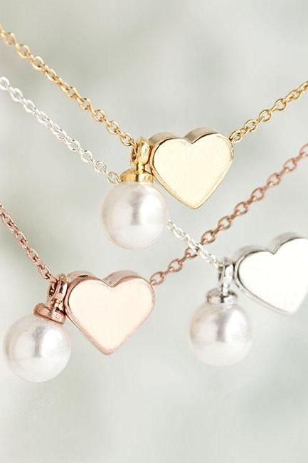 Tiny Heart Pearl Necklace, Silver / Gold / Pink Gold, Whimisical Wedding Bridal Bridesmaid Gift