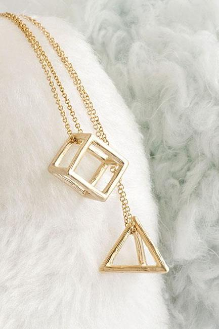 3D Cutout Frame Triangle Pyramid / Oblong Cube Charm Necklace, Silver / Gold