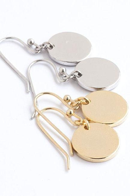 Disc Dangle Earrings, Gold / Silver, Round Circle Coin Moon Charm, Minimalist Jewelry