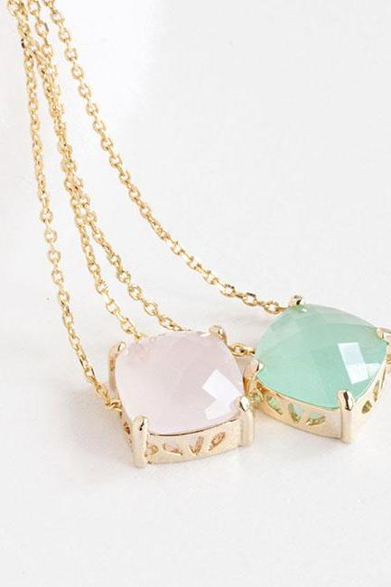Mint Green / Pastel Pink Gold Square Drop Necklace, Wedding Bridesmaid Jewelry