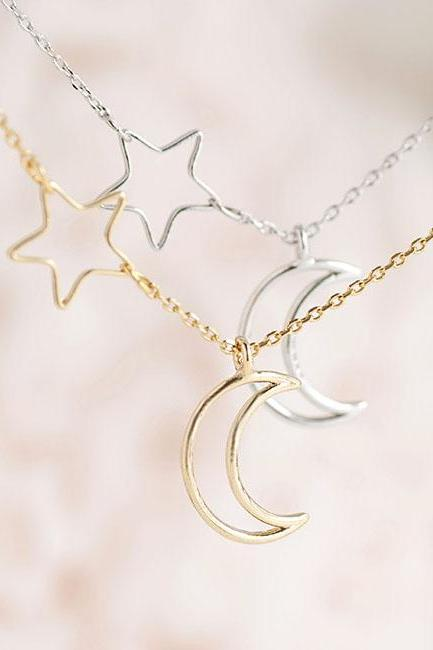 Crescent Moon Side Star Charm Necklace, Gold / Silver, Astronomy Whimsical Jewelry