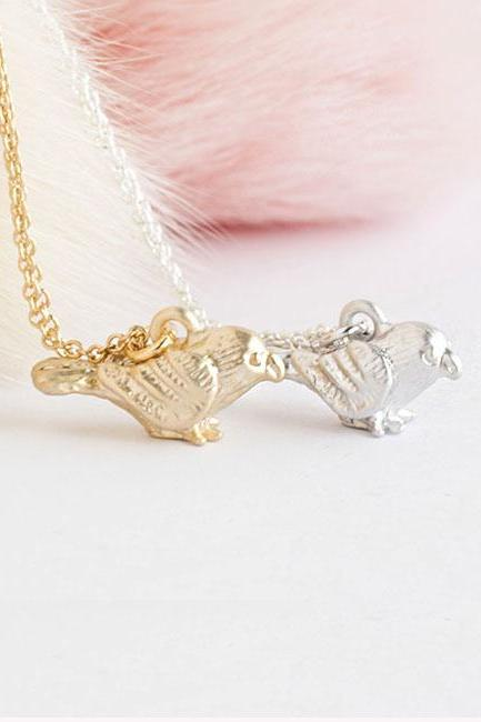 Tiny Baby Sparrow Bird Necklace, Gold / Silver, Animal Jewelry