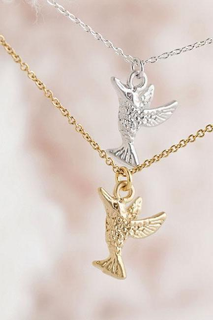 Tiny Hummingbird Necklace, Gold / Silver, Bird Animal Jewelry