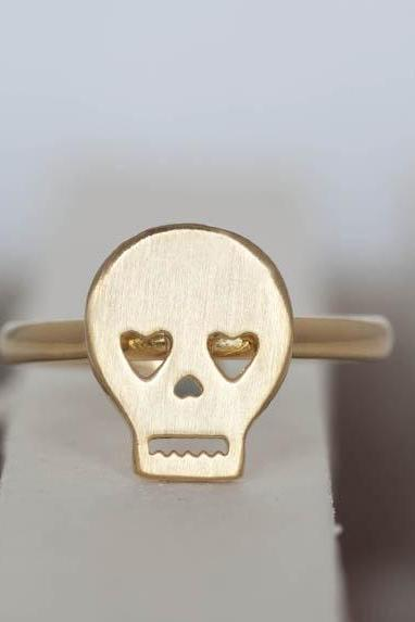 Gold Skull Ring, Skeleton Pirate Skull Ring - adjustable ring