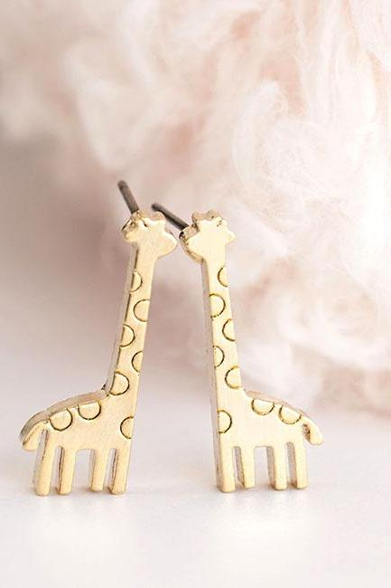 Gold Baby Giraffe Stud Earrings, Animal Zoology Ear Posts