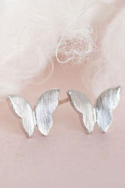 Silver Butterfly Stud Earrings, Tiny Wings Ear Posts, Whimsical Jewelry