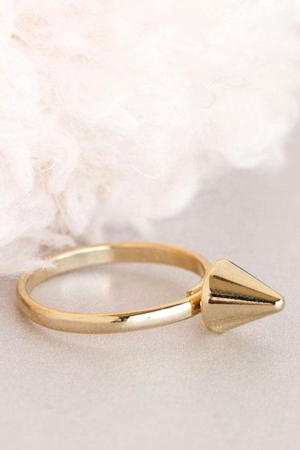 Gold Spike Cone Ring, Funk Punk Adjustable Ring