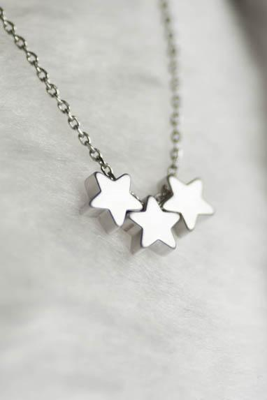 Tiny Silver Star Necklace, Tristar Three Wishes Charm, Whimsical Jewelry