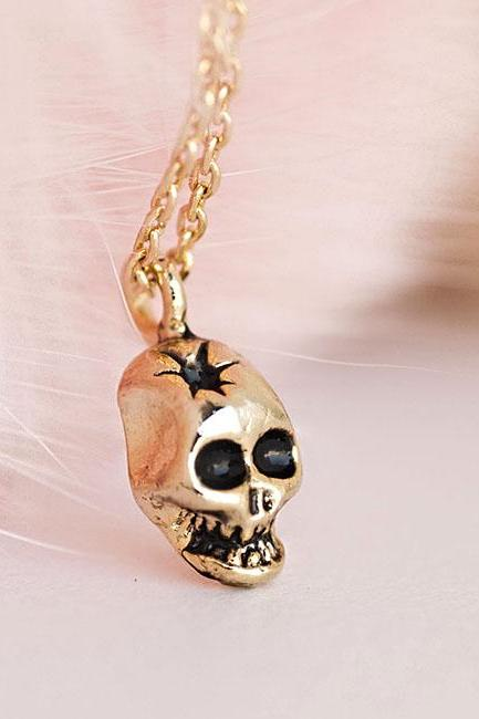 Tiny Gold Skull Head Charm Necklace, Skull Head with Star Shot Sunken Eyes, Whimsical Pirate Inspired