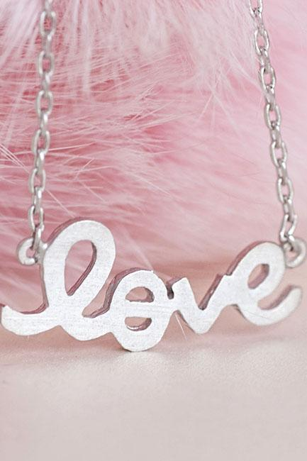 Tiny Silver Sideways LOVE Necklace, Cursive Hanwritten Letter Jewelry
