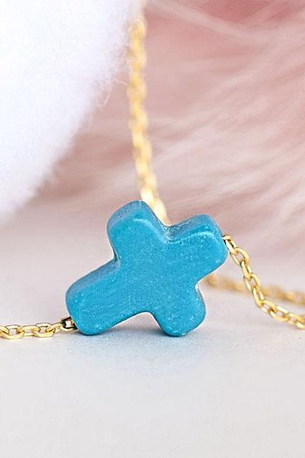 Tiny Turquoise Blue Sideways Cross Necklace, Gold / Silver Chain Option, Minimalist Inspired