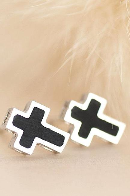 Black Cross Silver Stud Earrings, Minimalist Jewelry
