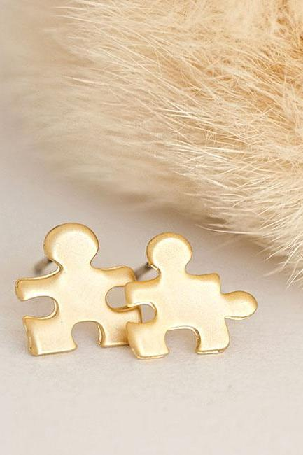 Gold Tiny Jigsaw Puzzle Stud Earrings, Minimalist Jewelry