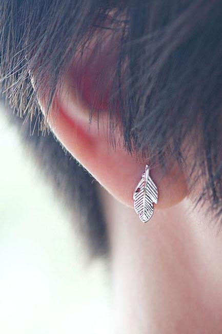 Tiny Silver Leaf Stud Earrings, Whimsical Nature Inspire