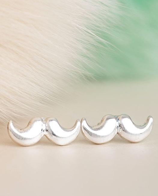Tiny Silver Moustache Stud Earrings, Cute Whimsical Jewelry