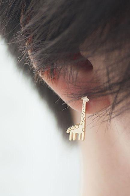 Gold Giraffe Stud Earrings, Animal Zoology Inspired Jewelry