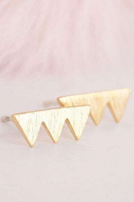 Tiny Gold Triad Triangle Stud Earrings, Geometric Minimalist Jewelry