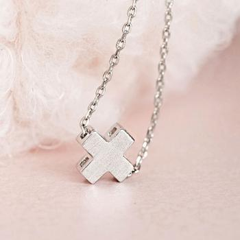 Tiny Silver Square Cross Necklace, Sideways Cross Charm, Minimal Jewelry