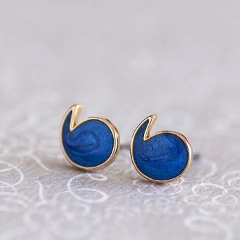 Mini Quotation Marks Stud Earrings, Royal Blue Color Comma Ear Posts, Apostrophe Ear Studs, Matoto