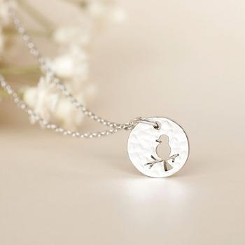 Silver Disc Necklace, Whimsical Bird on Branch Disc Charm Necklace