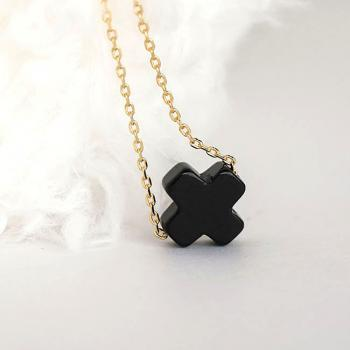 Black Onyx Square Sideways Cross Necklace, Gold / Silver Chain