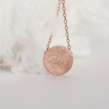 Pink Gold Disc Necklace, Circle Textured Disc Necklace, Minimalist