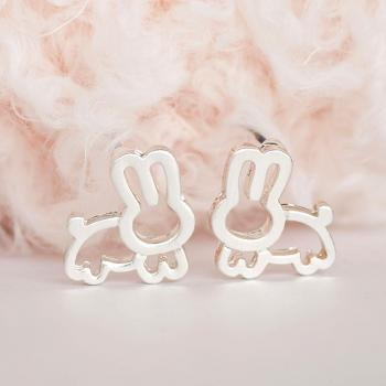 Silver Rabbit Earrings, Bunny Jewelry, Whimsical