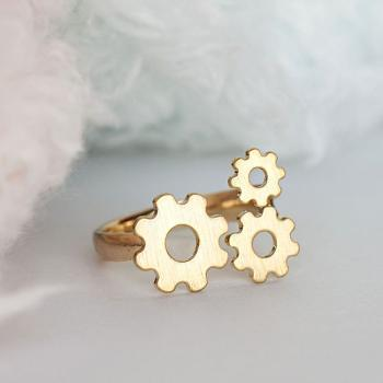 Gold Gear Ring, Steampunk Inspired