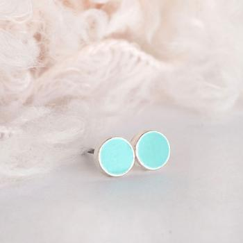 Mini Round Blue Stud Earrings, Bright Cyan Minimalist Geometric Inspired Ear Posts