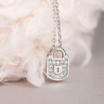 Silver Lock Necklace, Dainty Pave Crystal Charm, Cubic Zirconia, Sparkle