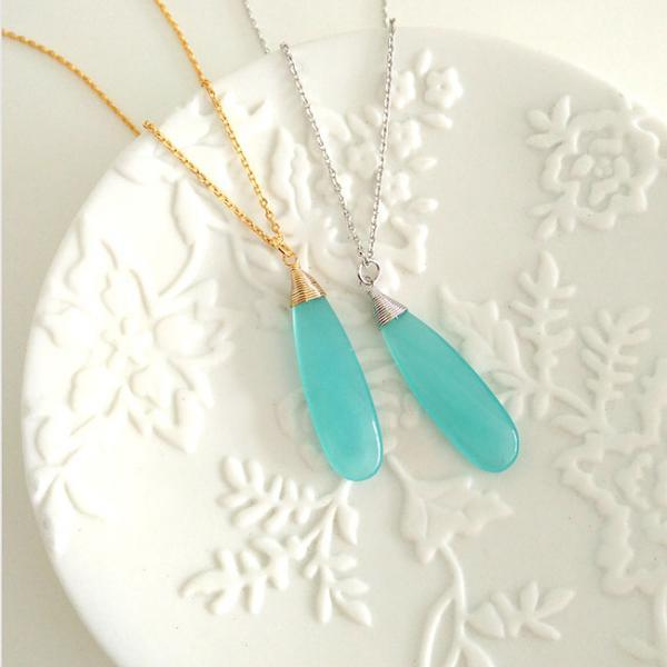 Icy Blue Drop Charm Necklace, Silver / Gold, Long Pale Light Blue Bar Charm, Minimalist Long Short Layering Jewelry