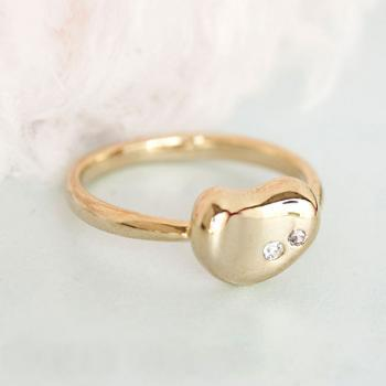 Tiny Gold Bean Ring, Jelly Kidney Bean Shaped Stacking Adjustable Ring Size