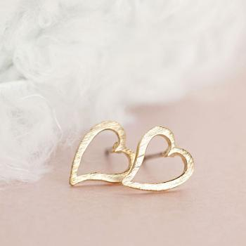 Gold Open Heart Stud Earrings, Minimalist Love Jewelry