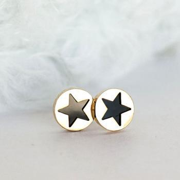 Black Star Stud Earrings, Gold Round Circle Disc Ear Post, Kpop Inspired