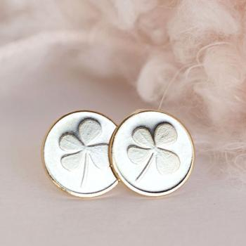 Gold Four Leaf Clover Stud Earrings, Shamrock Lucky Coin Disc Posts