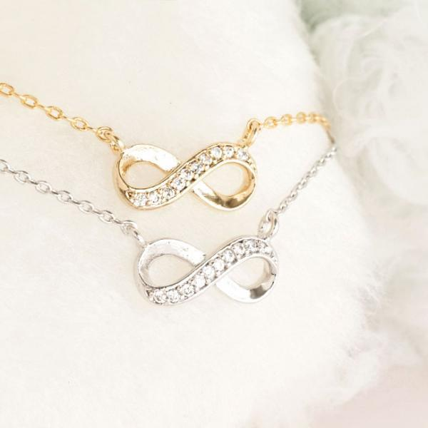 Infinity Necklace, Gold / Silver, Cubic Zirconia Crystal Pave Charm, Wedding Bridal Jewelry