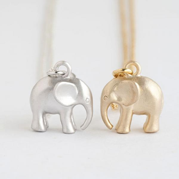 Tiny Baby Elephant Necklace, Gold / Silver, Animal Jewelry