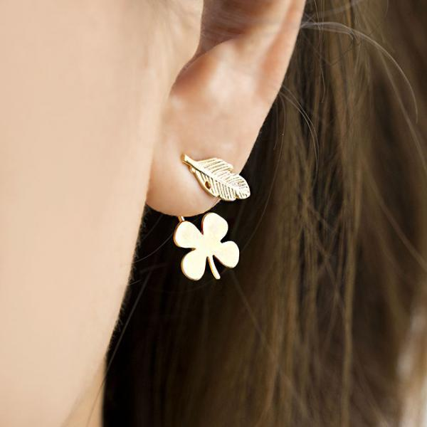 Gold Leaf Clover Flower Ear Jacket Front Back Earrings, Whimsical Nature Inspired Jewelry