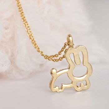 Gold Bunny Necklace, Whimsical Animal Rabbit Charm