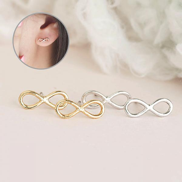 Tiny Infinity Stud Earrings, Gold or Silver, Minimalist Ear Posts