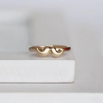 Gold Moustache Ring, Mustache Ring - adjustable ring