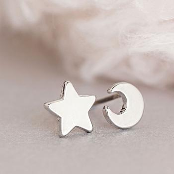 Silver Crescent Moon and Star Stud Earrings, Astronomy Galaxy Inspired