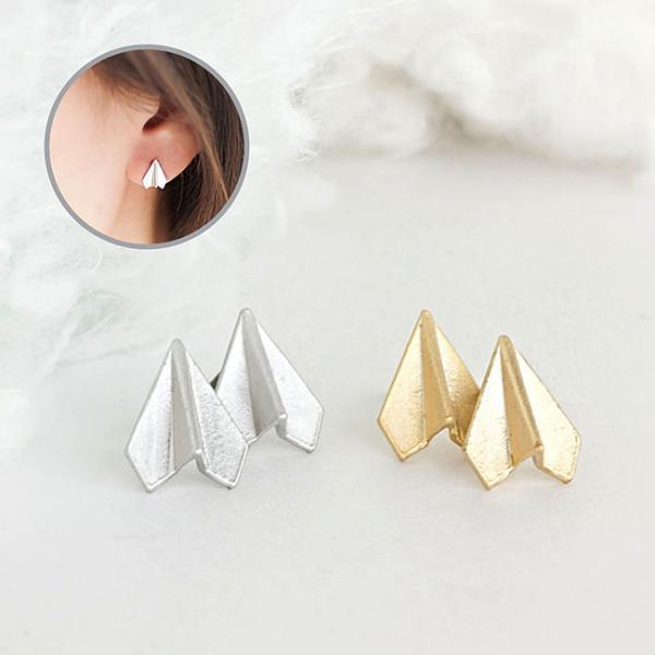 Tiny Paper Airplane Stud Earrings, Gold or Silver, Origami Aeroplane Whimsical Ear Posts