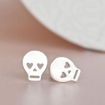 Silver Skull Earrings, Pirate Sugar Skeleton Head Ear Posts, Creepy Cute