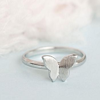 Silver Butterfly Ring, Tiny Wings Adjustable Ring